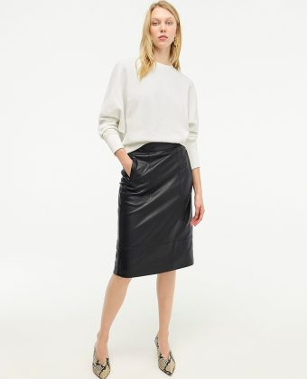 A-line Midi Skirt In Leather